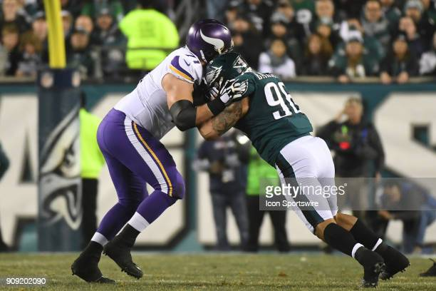 Minnesota Vikings offensive tackle Riley Reiff blocks Philadelphia Eagles defensive end Derek Barnett during the NFC Championship game between the...