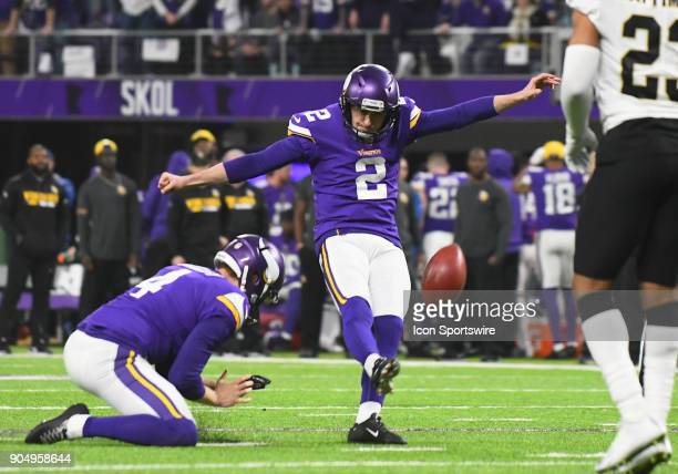 Minnesota Vikings place kicker Kai Forbath kicks an extra point during a NFC Divisional Playoff game between the Minnesota Vikings and New Orleans...