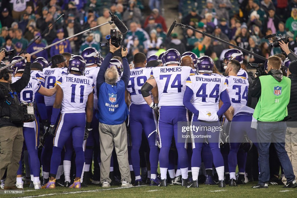 Minnesota Vikings players gather in a huddle during the NFC Championship Game between the Minnesota Vikings and the Philadelphia Eagles on January 21, 2018 at the Lincoln Financial Field in Philadelphia, Pennsylvania. The Philadelphia Eagles defeated the Minnesota Vikings by the score of 38-7.