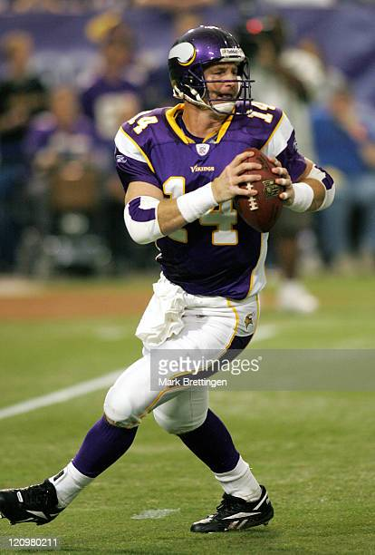 Minnesota Vikings quarterback Brad Johnson in action during a game against the Carolina Panthers on September 17 2006 in the Metrodome in Minneapolis...