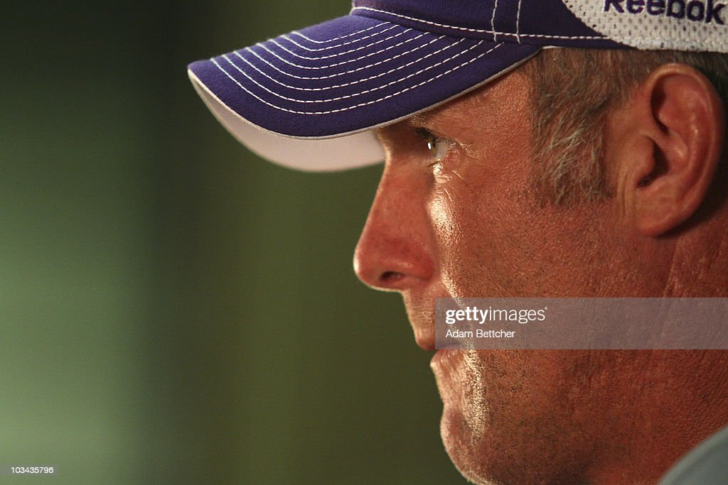 brett favre media availability photos and images getty images minnesota vikings quarterback brett favre addresses the media at a press conference after the first morning