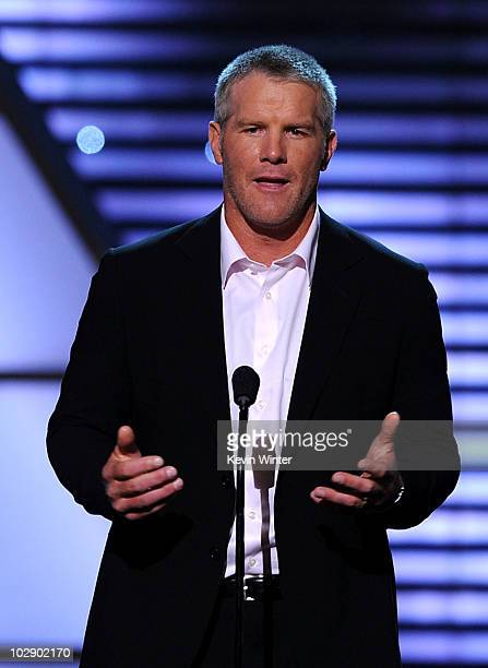 Minnesota Vikings quarterback Brett Favre speaks onstage during the 2010 ESPY Awards at Nokia Theatre LA Live on July 14 2010 in Los Angeles...