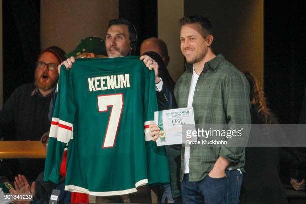 Minnesota Vikings quarterback Case Keenum attends his first Minnesota Wild game against the Buffalo Sabres at the Xcel Energy Center on January 4...