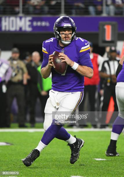 Minnesota Vikings quarterback Case Keenum looks to throw during a NFC Divisional Playoff game between the Minnesota Vikings and New Orleans Saints on...