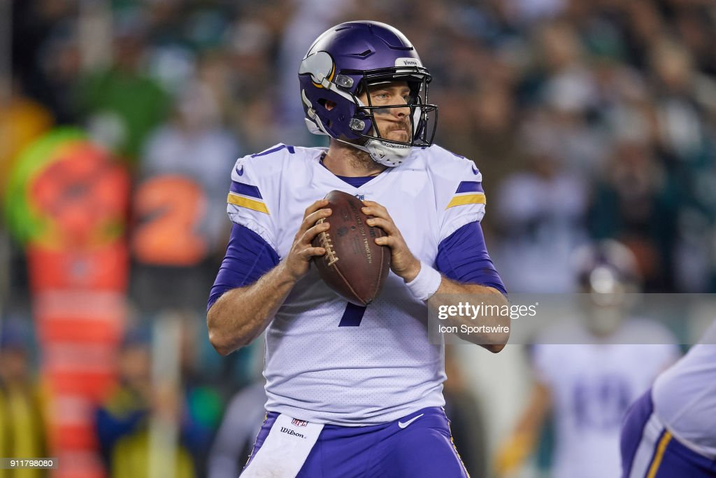 Minnesota Vikings quarterback Case Keenum (7) looks to throw the football during the NFC Championship Game between the Minnesota Vikings and the Philadelphia Eagles on January 21, 2018 at the Lincoln Financial Field in Philadelphia, Pennsylvania. The Philadelphia Eagles defeated the Minnesota Vikings by the score of 38-7.