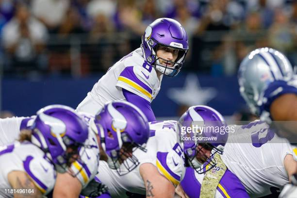Minnesota Vikings Quarterback Kirk Cousins looks down the line prior to the snap during the game between the Minnesota Vikings and Dallas Cowboys on...