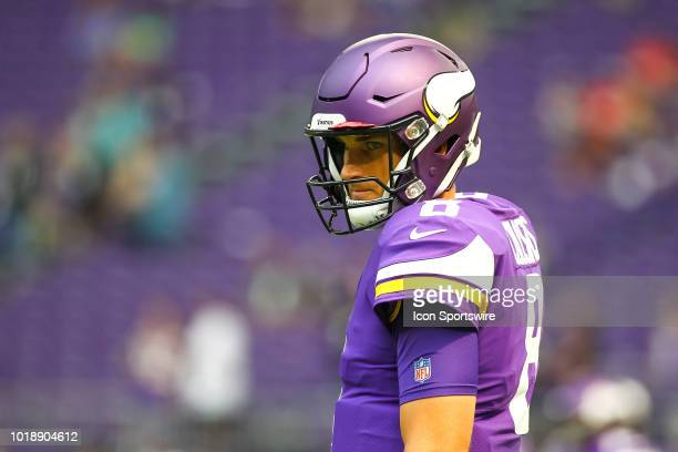 Minnesota Vikings quarterback Kirk Cousins looks on during warm ups before the start of the preseason game between the Jacksonville Jaguars and the...
