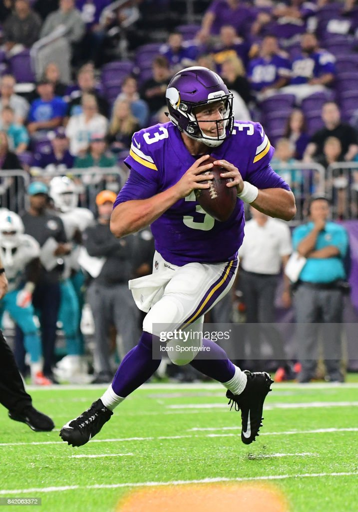 Minnesota Vikings quarterback Mitch Leidner (3) looks to throw during a NFL preseason game between the Minnesota Vikings and Miami Dolphins on August 31, 2017 at U.S. Bank Stadium in Minneapolis, MN. The Dolphins defeated the Vikings 30-9.