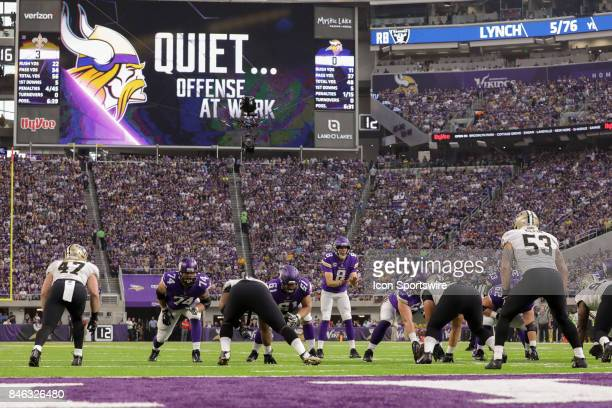 Minnesota Vikings quarterback Sam Bradford calls for the ball under the jumbotron during the game between between the Minnesota Vikings and the New...