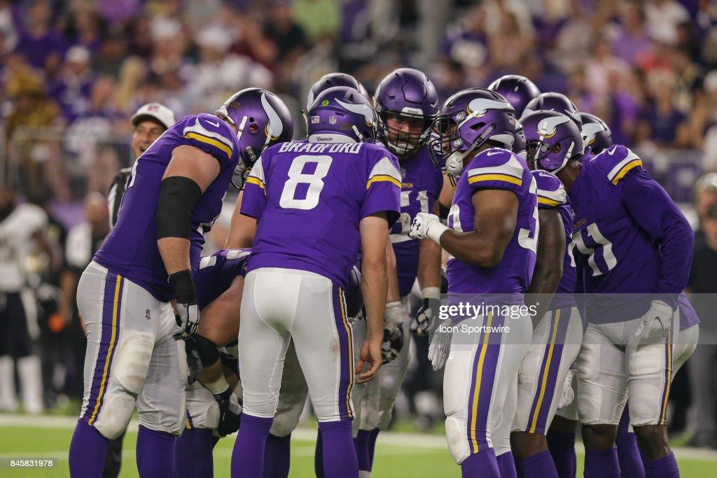 Minnesota Vikings quarterback Sam Bradford (8) calls the play in the huddle during the game between between the Minnesota Vikings and the New Orleans Saints on September 11, 2017 at the U.S. Bank Stadium in Minneapolis, MN. Minnesota Vikings win 29-19.