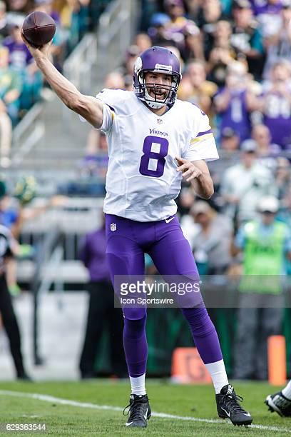 Minnesota Vikings Quarterback Sam Bradford throws a pass during the NFL game between the Minnesota Vikings and the Jacksonville Jaguars on December...