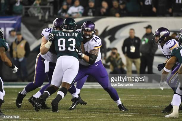 Minnesota Vikings right tackle Mike Remmers and Minnesota Vikings center Pat Elflein block Philadelphia Eagles defensive tackle Timmy Jernigan during...