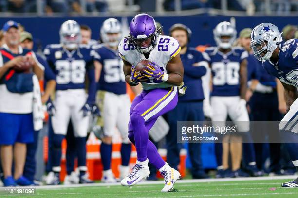 Minnesota Vikings Running Back Alexander Mattison makes a catch during the game between the Minnesota Vikings and Dallas Cowboys on November 10, 2019...