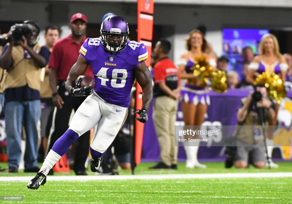 Minnesota Vikings running back Bronson Hill (48) runs with the ball during a NFL preseason game between the Minnesota Vikings and Miami Dolphins on August 31, 2017 at U.S. Bank Stadium in Minneapolis, MN. The Dolphins defeated the Vikings 30-9.