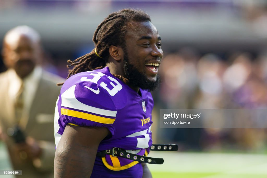 Minnesota Vikings running back Dalvin Cook (33) laughs before the start of the regular season game between the Tampa Bay Buccaneers and the Minnesota Vikings on September 24, 2017 at U.S. Bank Stadium in Minneapolis, Minnesota.