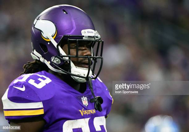 Minnesota Vikings running back Dalvin Cook looks on during a NFL game between the Minnesota Vikings and Detroit Lions on October 1 2017 at US Bank...