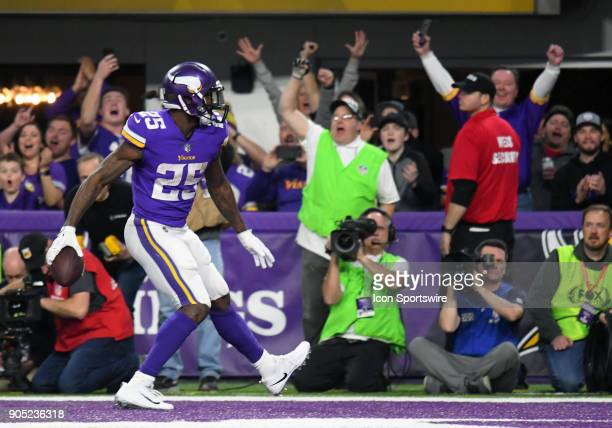 Minnesota Vikings running back Latavius Murray celebrates a touchdown during a NFC Divisional Playoff game between the Minnesota Vikings and New...