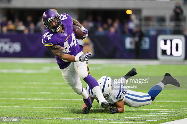 Minnesota Vikings running back Matt Asiata runs with the ball during a game between the Minnesota Vikings and Indianapolis Colts on December 18 at US...