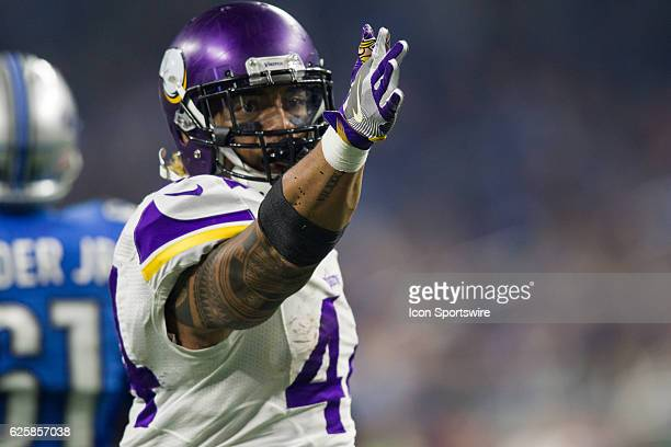 Minnesota Vikings running back Matt Asiata signals that he made a first down during game action between the Minnesota Vikings and the Detroit Lions...