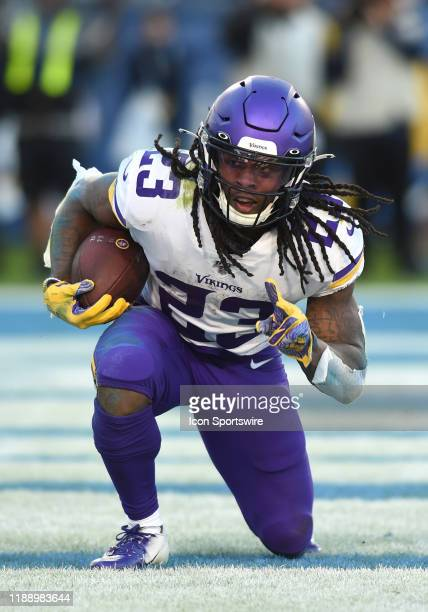 Minnesota Vikings Running Back Mike Boone celebrates after scoring his second rushing touchdown of the game during an NFL game between the Minnesota...