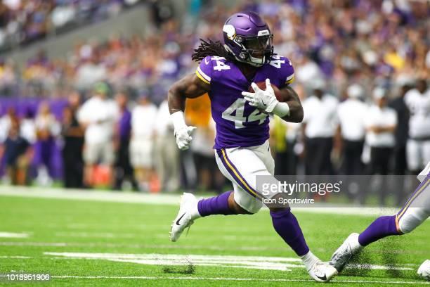 Minnesota Vikings running back Mike Boone runs during the preseason game between the Jacksonville Jaguars and the Minnesota Vikings on August 18 2018...