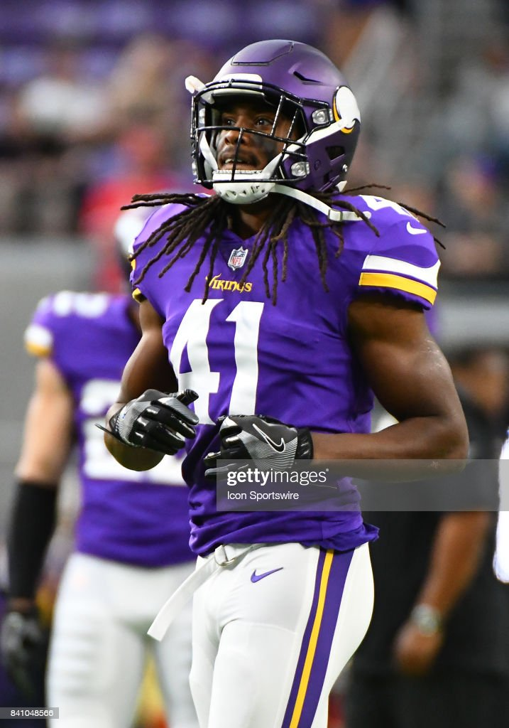 new product 352fc dca7a Minnesota Vikings Safety Anthony Harris warms up before a ...