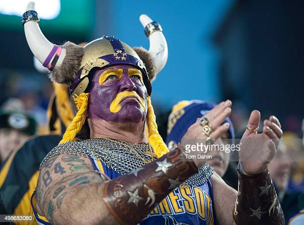 Minnesota Vikings super fan Syd Davy applauds during an NFL game against the Green Bay Packers at TCF Bank Stadium November 8 2015 in Minneapolis...