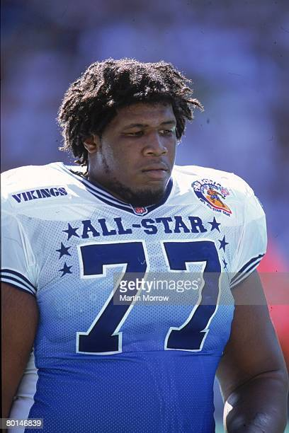 Minnesota Vikings tackle Korey Stringer of the NFC daydreams on the sideline against the AFC in the 2001 NFL Pro Bowl at Aloha Stadium on February 4...