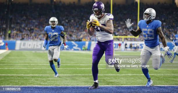 Minnesota Vikings tight end Kyle Rudolph caught his second touchdown over Detroit Lions outside linebacker Tahir Whitehead in the second quarter at...
