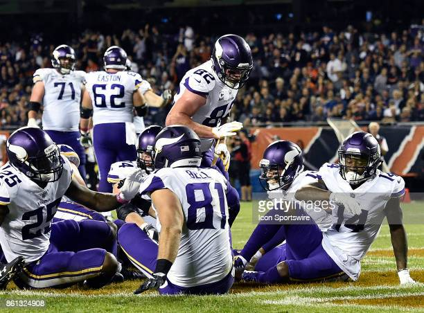 Minnesota Vikings tight end Kyle Rudolph celebrates during the game between the Minnesota Vikings and the Chicago Bears on October 9 2017 at Soldier...