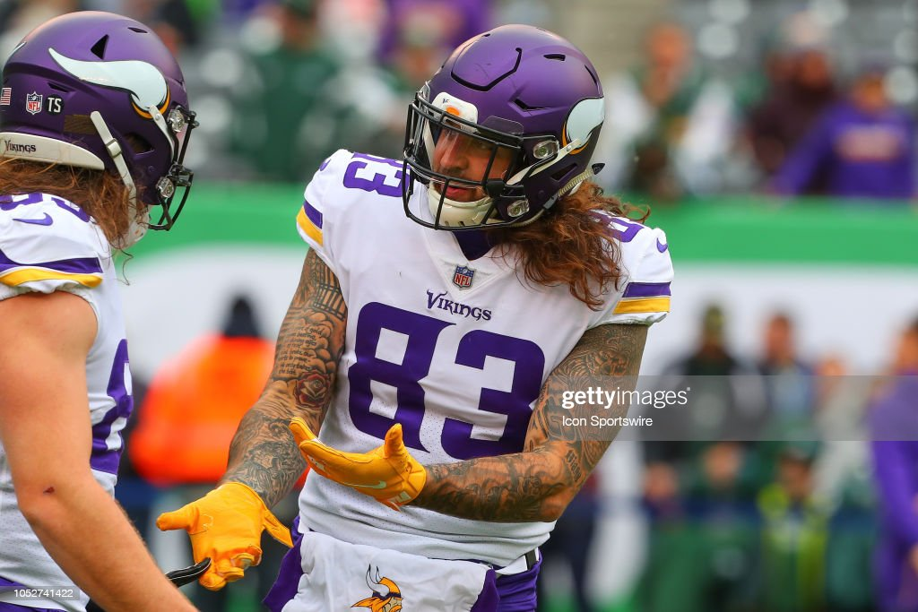 super popular 82157 292b0 Minnesota Vikings tight end Tyler Conklin prior to the ...