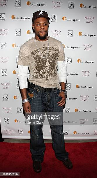 Minnesota Vikings Visanthe Shiancoe attends the 2nd annual Fashion and Football event at the Equinox Space on April 25 2009 in New York City