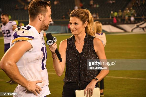 Minnesota Vikings Wide Receiver Adam Thielen is interviewed by Fox analyst Erin Andrews during the football game between the Minnesota Vikings and...