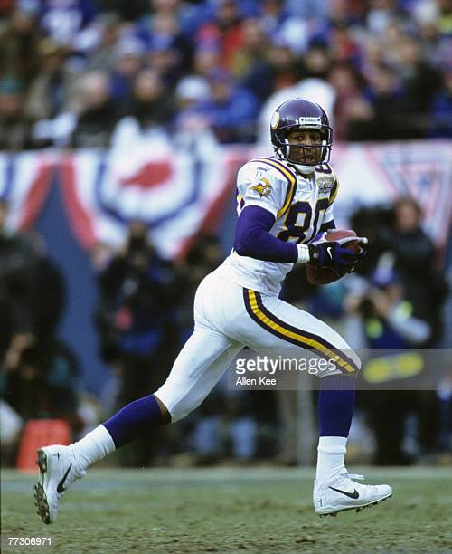 Minnesota Vikings wide receiver Cris Carter runs after the catch during the NFC Championship Game a 410 loss to the New York Giants on January 14 at...