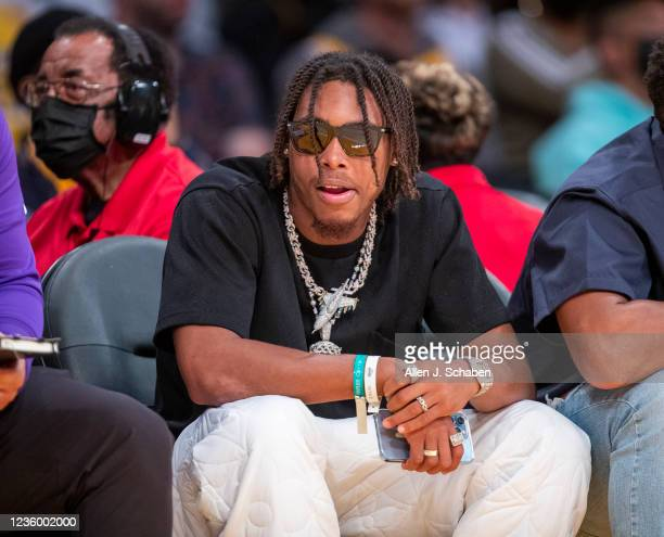 Minnesota Vikings wide receiver Justin Jefferson attends a game between the Golden State Warriors and the Los Angeles Lakers on October 19, 2021 at...