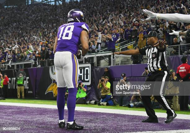 Minnesota Vikings wide receiver Michael Floyd reacts to an incomplete pass call during a NFC Divisional Playoff game between the Minnesota Vikings...