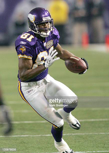 Minnesota Vikings wide receiver Nate Burleson in action during a game against the Chicago Bears on January 1 2006 in the Metrodome in Minneapolis...