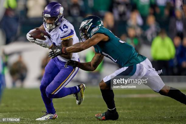 Minnesota Vikings wide receiver Stefon Diggs battles with Philadelphia Eagles cornerback Jalen Mills during the NFC Championship Game between the...
