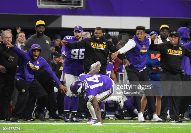 Minnesota Vikings wide receiver Stefon Diggs catches his balance after beating coverage to score the game winning touchdown as time expired during a...