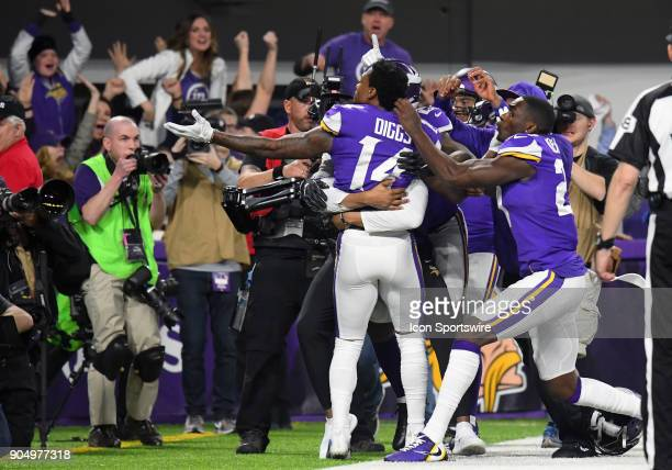Minnesota Vikings wide receiver Stefon Diggs celebrates his game winning touchdown during a NFC Divisional Playoff game between the Minnesota Vikings...