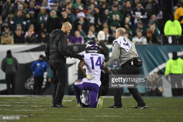 Minnesota Vikings wide receiver Stefon Diggs is attended by medical staff during the NFC Championship game between the Philadelphia Eagles and the...