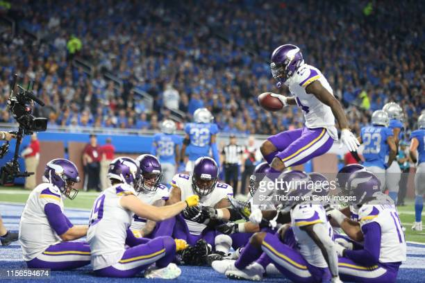 Minnesota Vikings wide receiver Stefon Diggs jumped in the circel to join his teammates for a Thanksgiving meal celebration after quarterback Case...