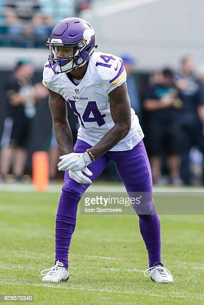Minnesota Vikings Wide Receiver Stefon Diggs lines up for a play during the NFL game between the Minnesota Vikings and the Jacksonville Jaguars on...