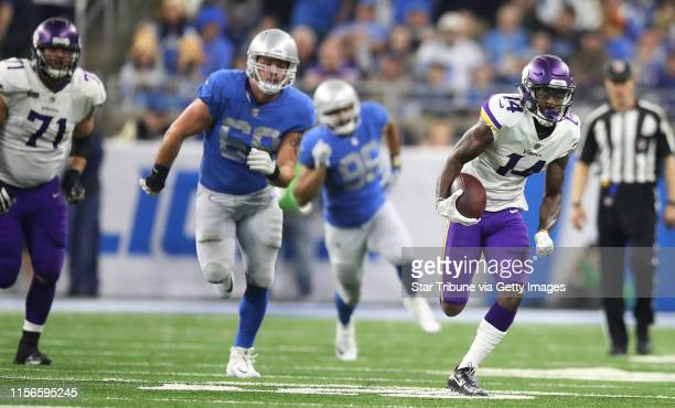 Minnesota Vikings wide receiver Stefon Diggs picked up 37 yards on catch in the forth quarter at Ford Field Thursday November 23 2017 in Detroit MI]...
