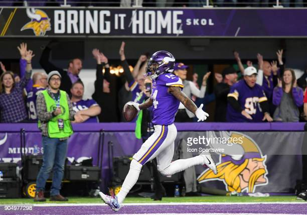 Minnesota Vikings wide receiver Stefon Diggs scores the game winning touchdown as time expired in the 4th quarter during a NFC Divisional Playoff...