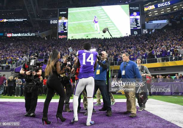 Minnesota Vikings wide receiver Stefon Diggs watches his game winning play on the Jumbotron after a NFC Divisional Playoff game between the Minnesota...