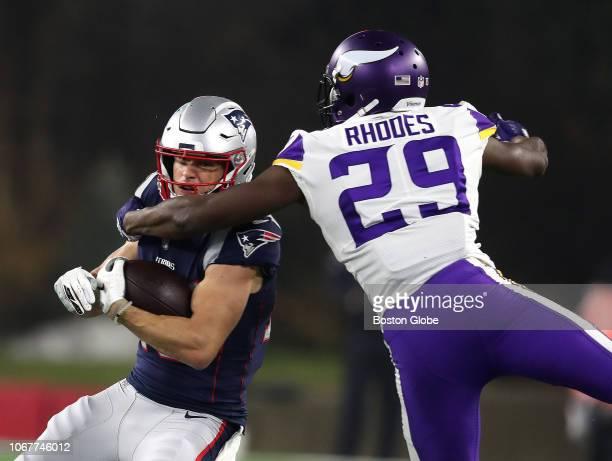 Minnesota Vikings Xavier Rhodes tackles Patriots Chris Hogan in the first quarter The New England Patriots play against the Minnesota Vikings at...
