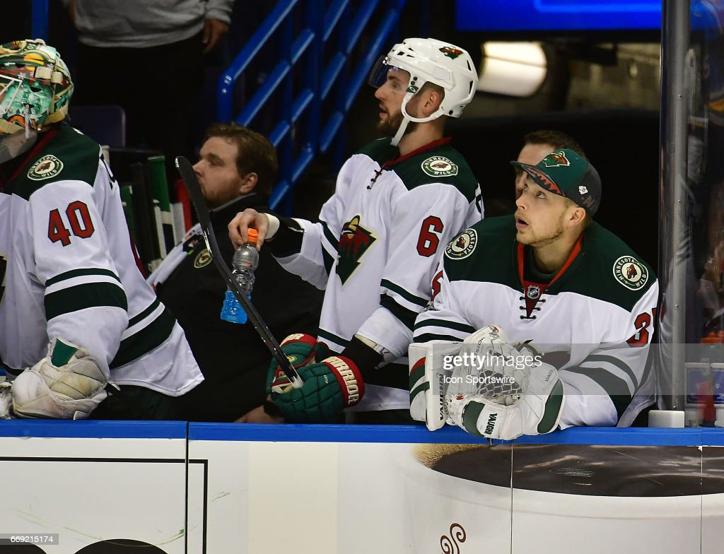 NHL: APR 16 Round 1 Game 3 - Wild at Blues : News Photo