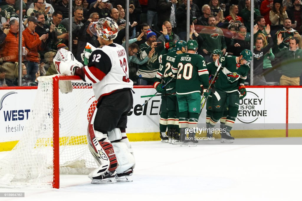 Minnesota Wild center Eric Staal (12) celebrates after scoring on Arizona Coyotes goalie Antti Raanta (32) in the 1st period to make it 1-0 during the Western Conference game between the Arizona Coyotes and the Minnesota Wild on February 8, 2018 at Xcel Energy Center in St. Paul, Minnesota.