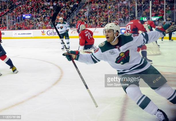 Minnesota Wild center Luke Kunin celebrates after scoring the game winning goal in the third period against the Washington Capitals on March 22 at...